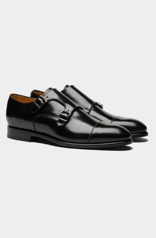 黑色雙孟克皮鞋