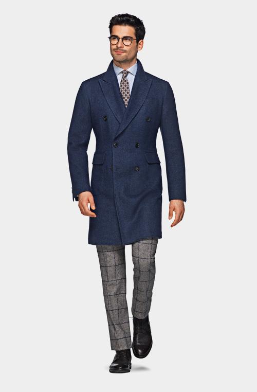藍色雙排扣外套